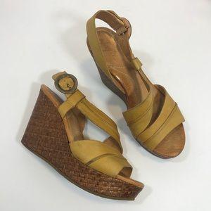 Naya Mustard Yellow Estra Rattan Leather Wedges
